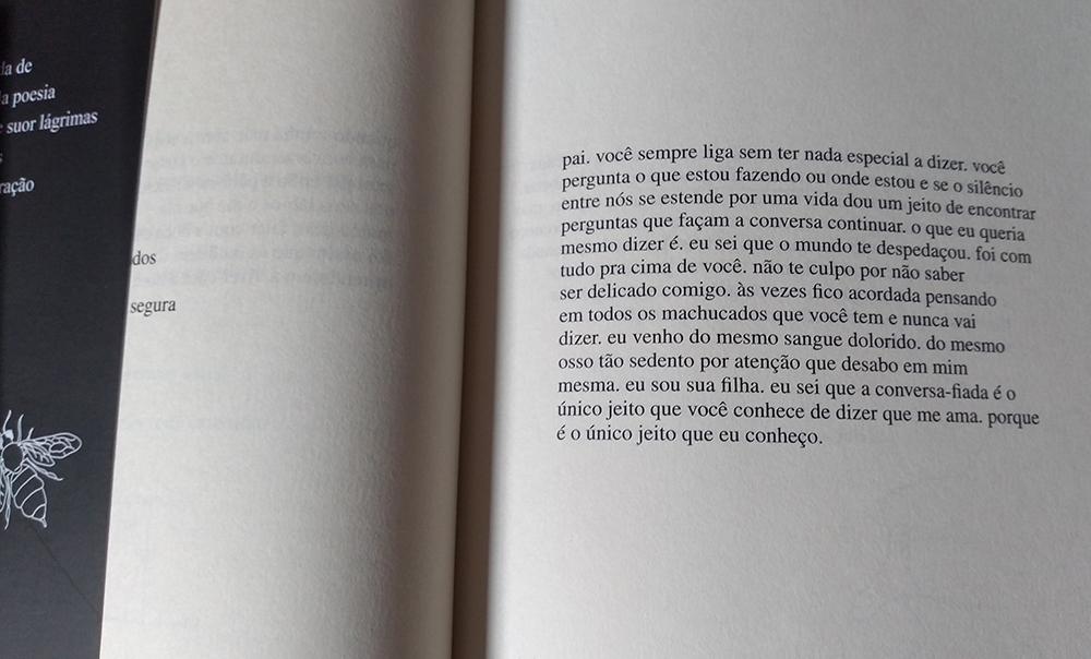 Trecho do livro: Outros Jeitos de Usar a Boca, de Rupi Kaur. Foto: Juh Oliveira